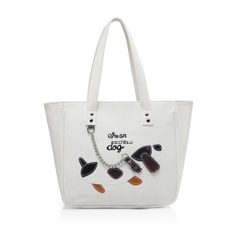 BORSA A SPALLA MEDIA DOG COTONE D134BO
